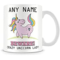 Unicorn Mug - Personalised Gift - Add Name and Text - Beware Crazy Unicorn Lady Cup