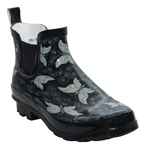 Womens Black Butterfly Print Wellington Wellies Short Ankle Boots UK Sizes 3-9