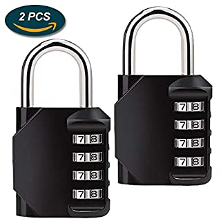 Combination Lock,Lookka Combination Padlock with 4-Digit Smooth Dial For Gym locker,School,Sports Bag,Tool Box,Garden Gate,Garage,Outdoor Shed Locker-Black[2 Pack]
