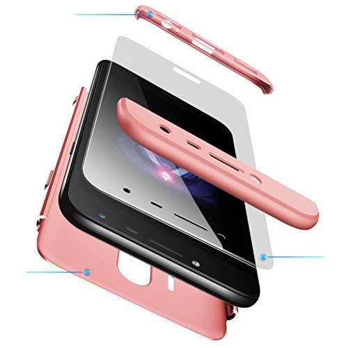AILZH kompatibel für HandyHülle Samsung Galaxy J5 2017 Hülle +Gehärteter Glas Film 360 Grad PC Hartschale Anti-Schock Schutzhülle Anti-Kratz Stoßfänger Bumper Cover Case Schutzkasten Rosen(Rosa)