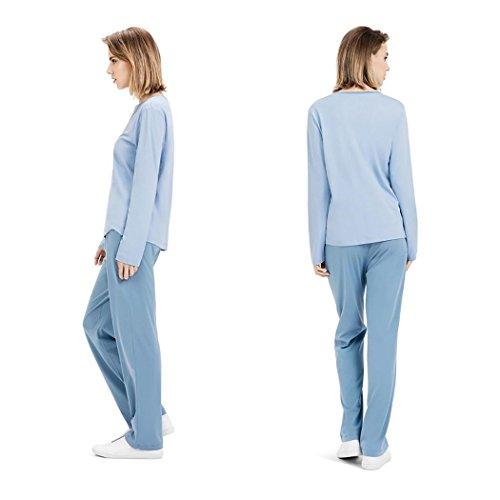HXQ Damen-Pyjama 100% Baumwolle Lange Ärmel Schlafanzug Set Blue