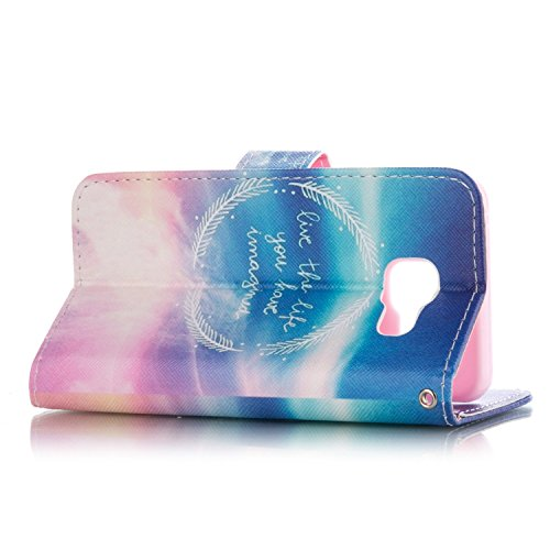 Galaxy A3 2016 Hülle, Galaxy A3 2016 Hülle Ledertasche Brieftasche handyhülle im BookStyle, SainCat PU Leder Wallet Case Folio Schutzhülle Painted Muster Hülle Bumper Handytasche Skin Schale Soft Back Weizen Kreise