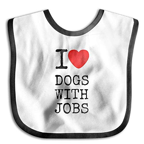 I Love Heart Dogs With Jobs Kids Baby Snap Buttons Saliva Towel Lunch Bibs White Hearts Snap