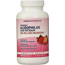 American Health, Acidophilus und bifidum, Kautabletten, Natürliche Erdbeeraroma, 100 Wafern