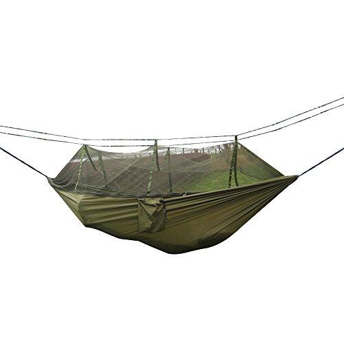 Aogolouk Upgrated Camping Hamac moustiquaire, Tissu en Nylon de Voyage Portable Double Camping Hamac Suspendu Lit l'intérieur, extérieur, randonnée, randonnée, Backyard