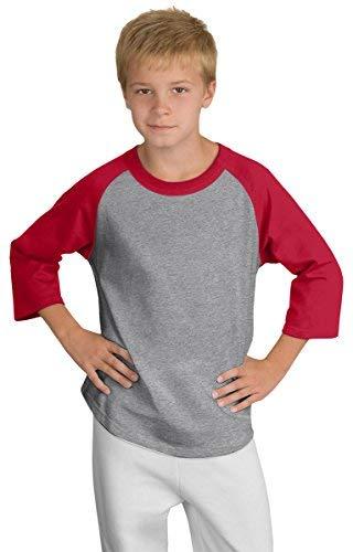 Sport-Tek Youth 3/4 Raglan Sleeves Colorblock Jersey_Heather Grey/Red -