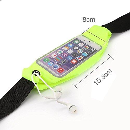 Wkae Case & Cover Imperméable sport sac de taille Pochette Earphone Trou pour iPhone 6 Plus &6s plus ( Color : Pink ) Green