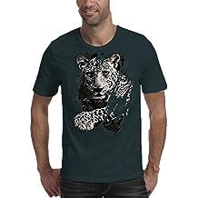 Internet_Verano Moda Ocio Estampado Leopardo de Dibujos Animados en 3D Agujero Color sólido Cuello Redondo Camiseta