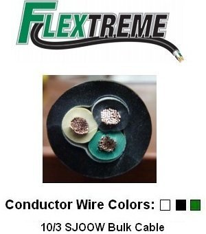 10/3 Bulk Cable 100 Foot - SJOOW Jacket, 30 Amps, 3 Wire, 300v - Water and Oil Resistant by Flextreme -