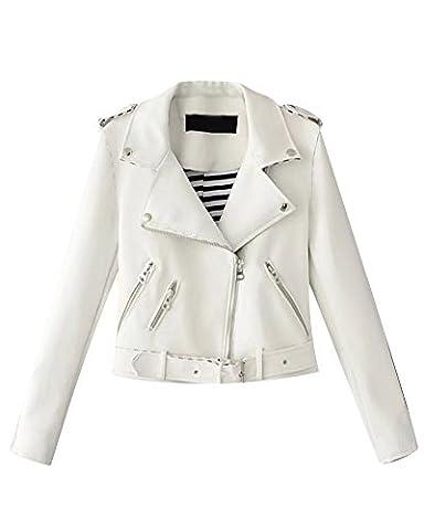 Damen Jacke Kunstlederjacke Bomberjacke Biker Leder Oberteile Mantel Weiß S