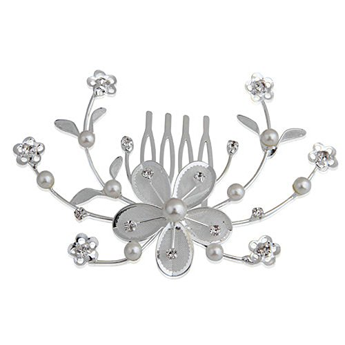 Skyllc® Elegant Wedding pettine dei capelli perla Crystal Flower Bridal Hair Design clip laterale pettine perno copricapo da sposa per Bridesmaids