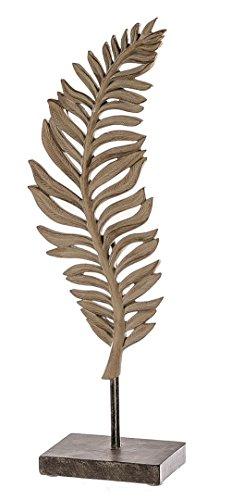 Casablanca 1 x Skulptur Leaf Hellbraun a. dunkelbrauner Basis Höhe 42 cm, Tischdeko, Blatt (Links (Stückpreis)) -