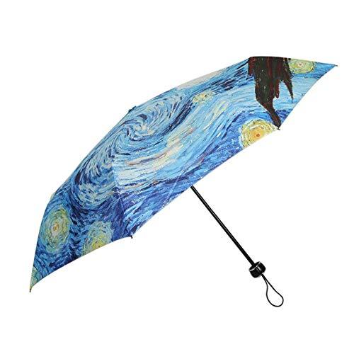 KKCCZZ Regenschirm Ölgemälde Sternennacht DREI Taschenschirm 8 Rippen Windbeständiger Rahmen Für Frauen B (Sternennacht ölgemälde)
