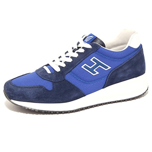 4154Q sneaker uomo HOGAN INTERACTIVE H FLOCK blu/bianco suede shoe men Blu/Bianco