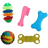 W9 High Quality Combo of 5 Natural Rubber Puppy Toy (Color May Vary)