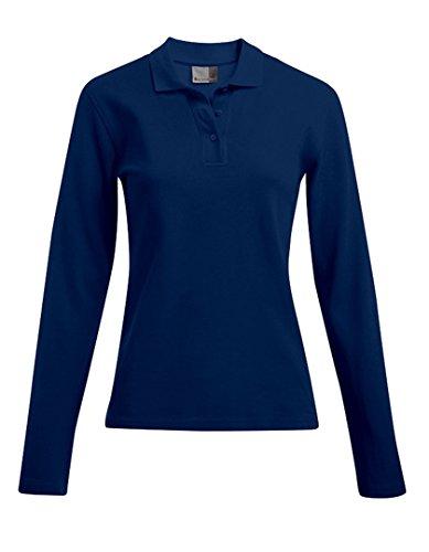 Langarm Poloshirt Damen, XL, Marineblau
