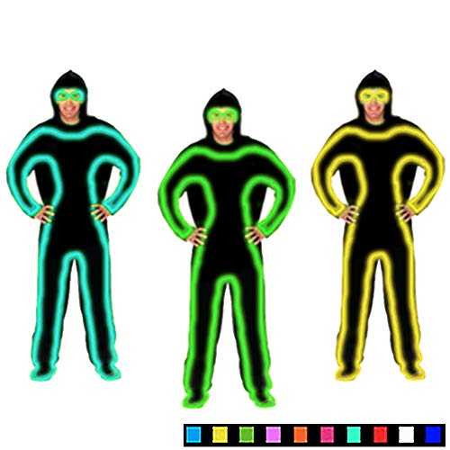 DHTW&R EL Kaltlicht Glühende Kleidung LED Fluoreszierender Tanz Performance-kostüm Nachtshow Beleuchtet Strichmännchen Mann Batteriebetrieben Maskerade Party Kostüm,Green,L