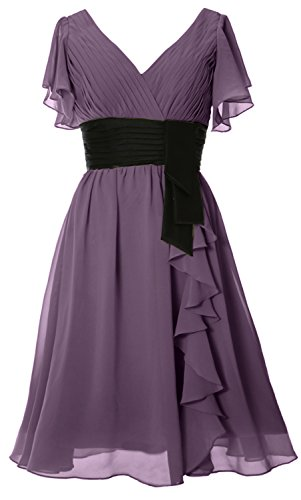MACloth Elegant Short Sleeve Mother of Bride Dress V Neck Cocktail Formal Gown Wisteria