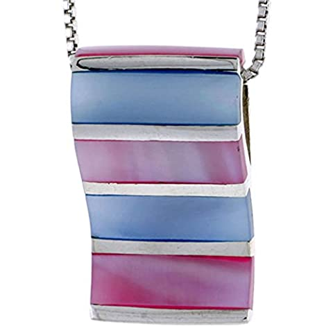 Revoni Sterling Silver Striped Rectangular Slider Shell Pendant, w/ Pink & Blue Mother of Pearl inlay, 1