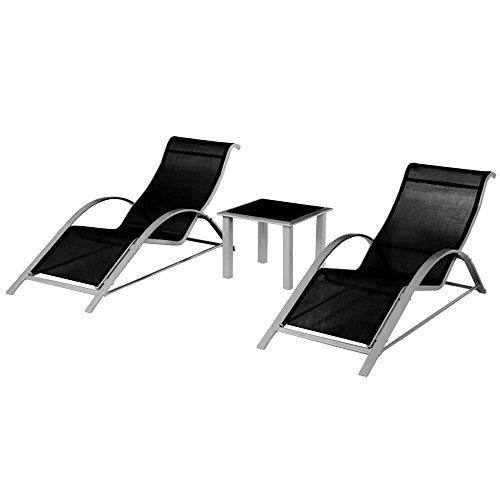 SSITG 2x Sonnenliege Gartenliege Strandliege Liege Saunaliege Liegestuhl Alu + Tisch