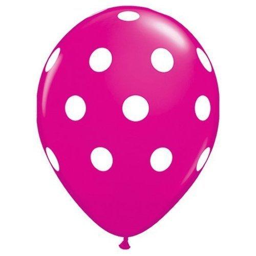 Wild Berry Pink Big Polka Dot White Spots 11 Latex Balloons x 5 by Qualatex