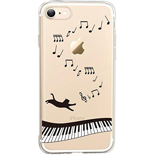 Coque iPhone 7 Plus, TrendyBox PC Hard Cover avec soft TPU Pare-chocs pour iPhone 7 Plus (Happy Halloween) Chat et Piano