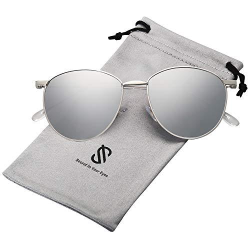 SOJOS Schick Metall Runde Sonnenbrille Damen Verspiegelt SJ1117 mit Silber Rahmen/Silber Linse