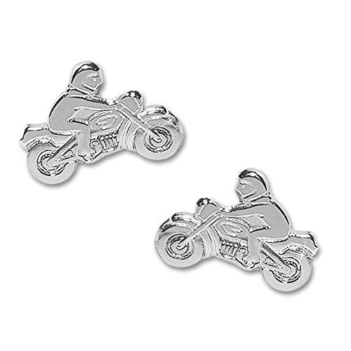 Clever Schmuck Silberne kleine Motorradfahrer 8,5 x 6 mm als Paar rechts und links glänzend 925 STERLING SILBER 925