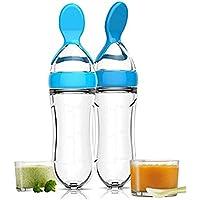 Botella de alimentación con cuchara, silicona apretar arroz cereales comida cuchara dispensador de alimentos para bebé cuchara (20,5 cm azul) 1 pieza