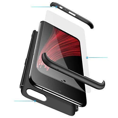 MEVIS Oppo F7 Hülle,360 Grad hülle Fullbody case+(1*Hartglas Glasfilm Schutzfolie) 3 in 1 Ultra dünner pc Hardcase Scratch und Shockproof-Schwarz