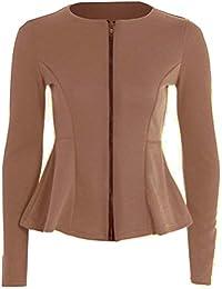 d51c20fe2b056 NAZ Fashion Womens Ladies Zip Peplum Ruffle Plus Size Tailored Blazer Jacket  Top UK 8-