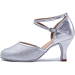 HIPPOSEUS Women Ballroom Dance Shoes,Closed Toes,WX-Cl-7,Plateado Color,UK 6.5/EU 39
