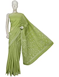 Ada Women's Hand Embroidered Lucknow Chikan Cotton Saree With Blouse Piece (A193346_Green)