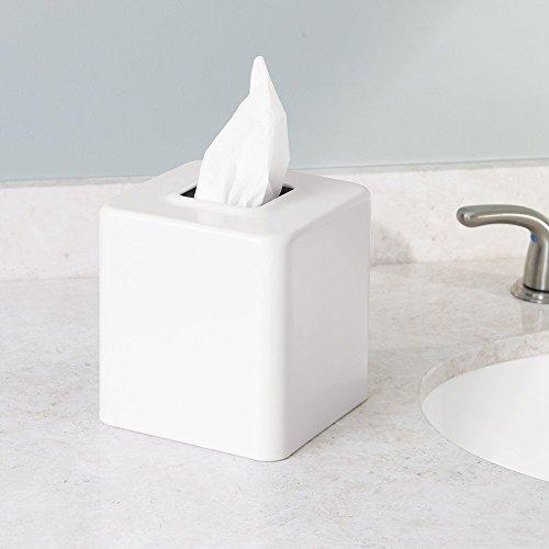 mDesign Facial Tissue Box Cover/Holder for Bathroom Vanity Countertops -ÒPack of 2,White