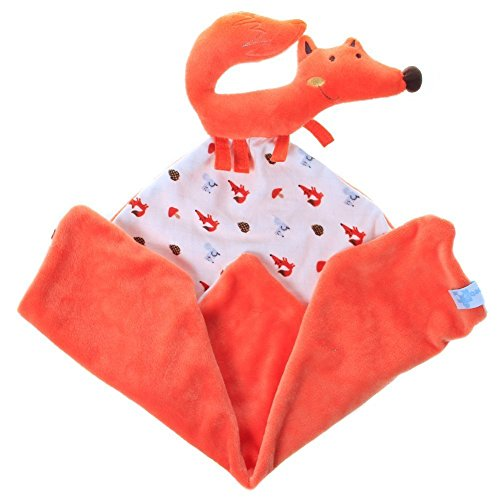 Labebe Infant Baby Toddler Comfort/Security Blanket for Girls & Boys with Plush Stuffed Animals & Rattle & Teether, Travel Comforter Toy, Bedtime Cuddle Soother Toy – Orange Fox