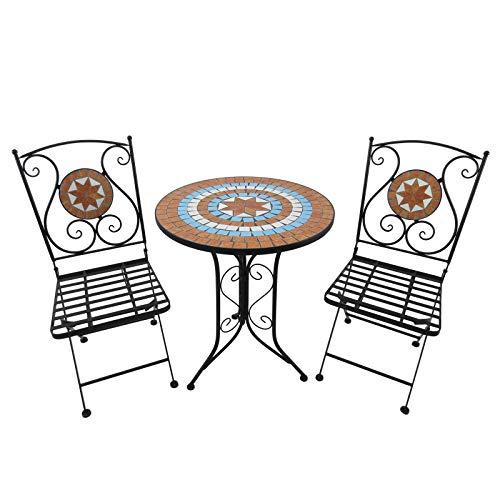 Outsunny Set da Pranzo 3 Pezzi Tavolino e 2 Sedie Pieghevoli Ferro 60 x 70 cm