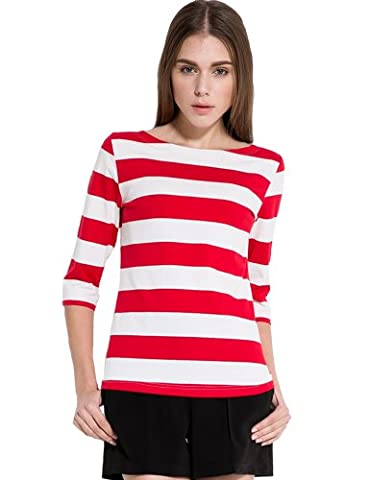 Camii Mia Women's 3/4 Sleeves Cotton Stripe T-Shirt (X-Large,