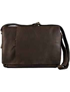 STILORD Vintage Umhängetasche Businesstasche 15.6 Zoll Laptoptasche Aktentasche Bürotasche Büffel Leder Dunkel...
