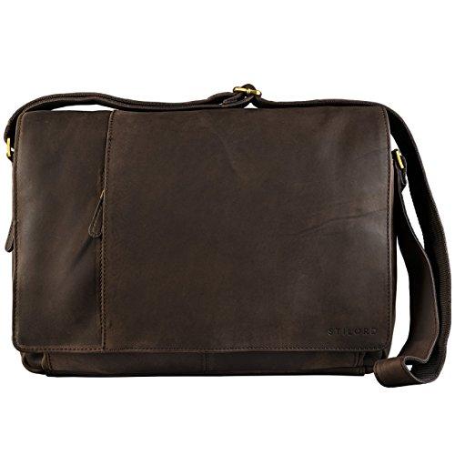 STILORD Vintage Umhängetasche Businesstasche 15.6 Zoll Laptoptasche Aktentasche Bürotasche Büffel Leder Dunkel Braun