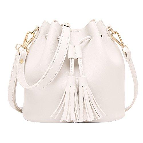 glareshop Frauen Retro Quaste Kordelzug Kunstleder Schulter Umhängetasche Bucket Handtasche, weiß, 20cm x 19cm x 11cm/7.87