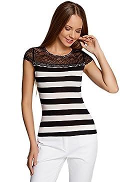 oodji Ultra Mujer Camiseta Entallada con Inserción de Encaje