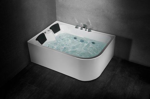 Luxus 2 Personen Whirlpool Badewanne Eck Spa Massagedüsen Nackenkissen Thermostat Heizung (recht-ohne Heizung)