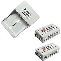 2 piezas 9V 650mAh Batería recargable de iones de litio con cargador de batería recargable universal