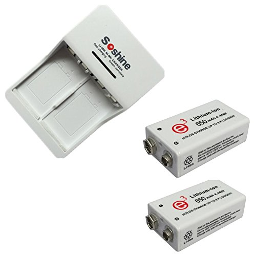 2 pz 9V 650mAh batteria ricaricabile agli ioni di litio con caricabatteria universale ricaricabile per 9V 6F22 Ni-MH 9.8V 11.2V Li-ione 8.4V Ni-MH 9.8V 11.2V