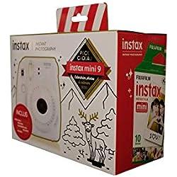 Fujifilm Instax Pack Cadeau Calendrier Photos 2020 à colorier livré avec: 1 Instax Mini 9 Blanc cendré + 1 Pack Film Mini 10 Vues + 1 Calendrier à colorier 2020 + 1 Pochette 4 feutres Couleurs