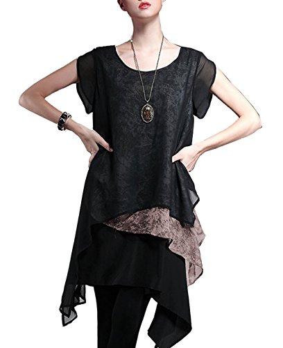 ELLAZHU Damen Blume Gedruckt Einmalig Design Asymmetrisch Ärmellos Kleid DY32 Kaffee