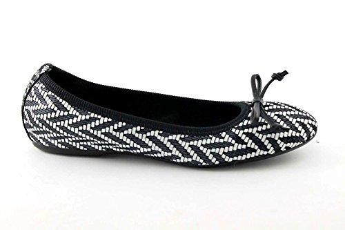 FRAU 70Q0 bianco nero stampa treccia scarpe donna ballerine fiocco pelle Nero