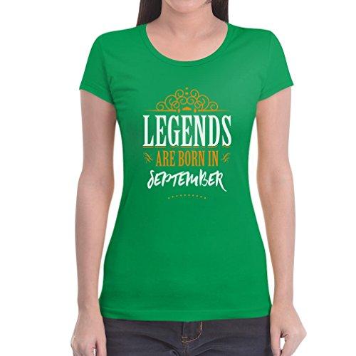 Legends are born in September - Geschenke Damen T-Shirt Slim Fit Grün
