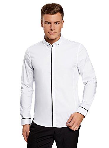 Oodji ultra uomo camicia basic con finitura a contrasto, bianco, 43cm / it 52 / eu 43 / l