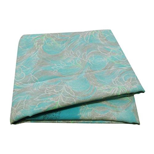 Blaue Saree (PEEGLI Jahrgang Indisch Beiläufig Saree Blau Frau Ethnische Sari Blatt Kleid Seiden Mischung DIY Dekorativ Stoff 5 Yard)